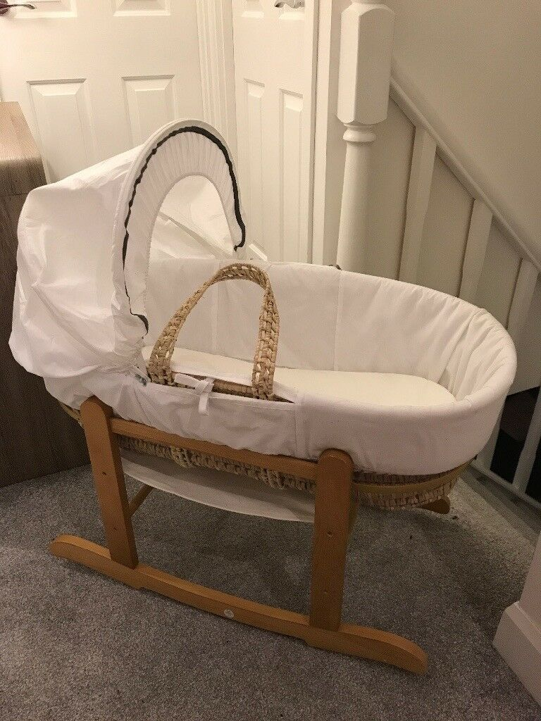 White with grey trim Moses basket on rocking stand