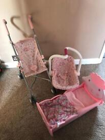 Baby annabell pram. Cot and car seat