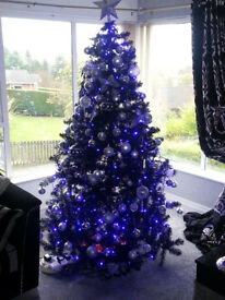 7ft black Christmas tree with silver and chrome Decorations