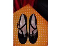 Brand new suede black ladies evening shoes