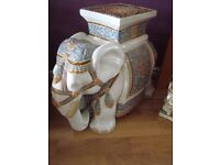 Ceramic elephant plant stand approx 16.5 inches tall