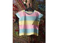 Next Girls Pastel Striped T-Shirt, Age 18-24 Months