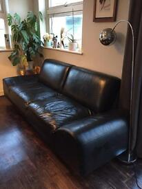 Vintage Black Leather Couch