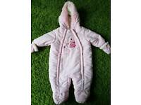 Baby girls Ladybird Pramsuit 0-3 months. Never worn