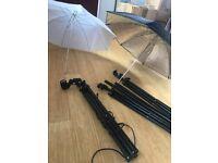 Studio lighting set (umbrellas etc)