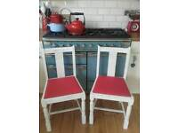 Pair of shabby chic vintage chairs
