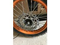 Pit bike front wheel 14 inch all complete