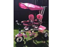 4 In 1 Kids Child Trike Tricycle 3 Wheel Bike W/ Handle Baby Infant Twin Seats