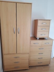 Bedroom furniture, bookcase, storage cubes, clothes rail and fold away desk