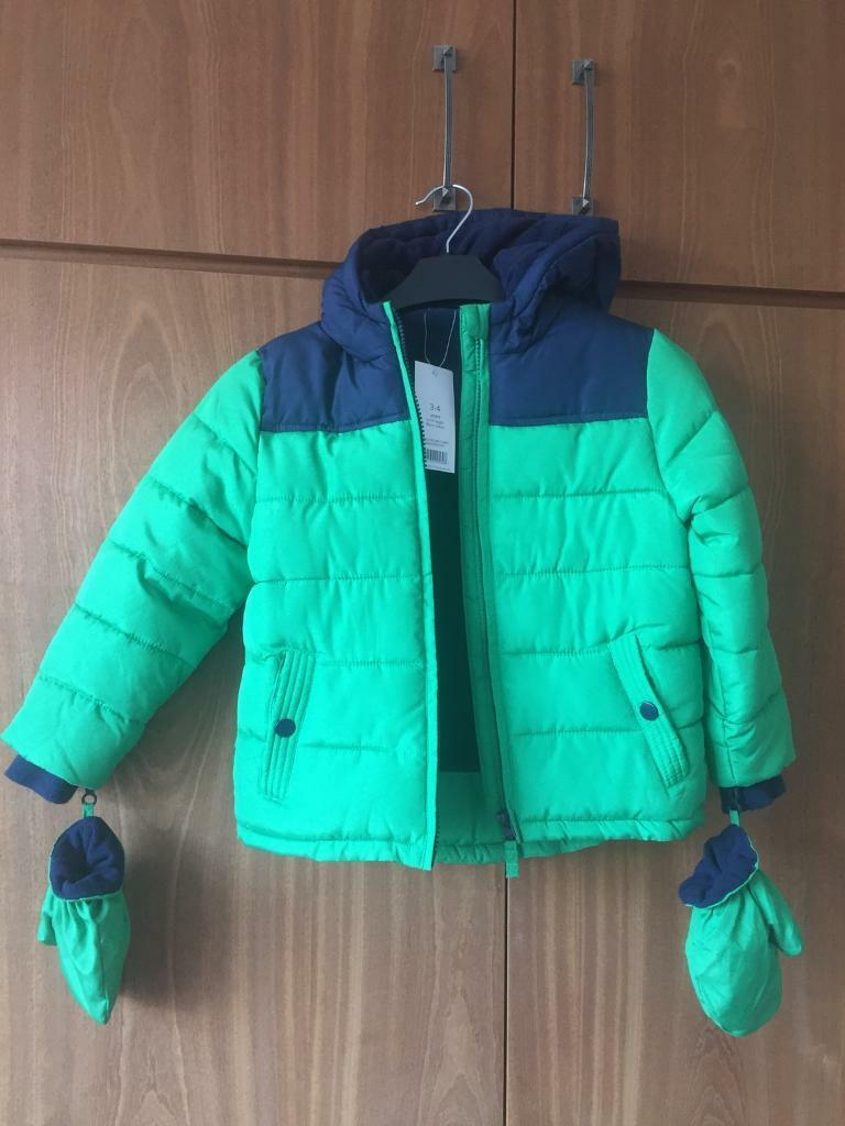 be96e85bdfd0d Brand New Green Navy Fleece Lined Warm Winter Boys Kids Coat Jacket Asda  George Age 3-4 New WithTags