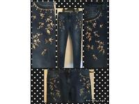 Girls go,d sequin skinny jeans age 9-10 with adjustable waist band