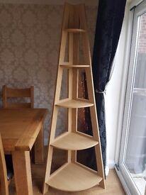 NEXT oak corner shelf unit