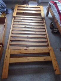 Strong and stable wooden bed frame (single) - good condition