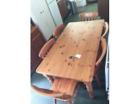 Pine farmhouse dining table and chairs set