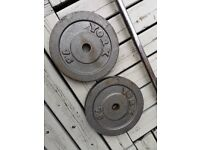 2 x 7.5kg cast iron weight plates