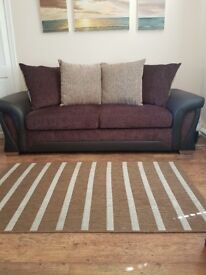 2 Leather and Fabric Sofas- New Condition 1 large 2 seater and 1 large 3 seater- Brown and Gold