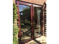 UPVC Rosewood Patio Doors - 1760mm x 2100mm - available from 4 May