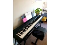 Yamaha P-45 88 key weighted Digital Piano hardly used, rock jam stool, keyboard stand and cover