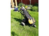 Ladies Taylor Made Golf Clubs with Titleist Golf Bag and Powerkaddy Electric Trolley