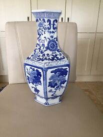 Blue & white patterned vase