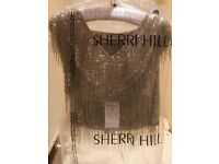 Brand new with tags gold beaded fringe . Sherri hill 2piece stunning high quality. Item