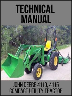 John Deere 4110 4115 Compact Utility Tractor Service Technical Manual Tm1984 Usb