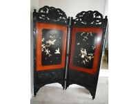 Antique inlaid lacquer screen room divider