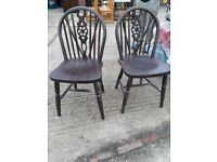 Cottage dining chairs - pair solid dark wood