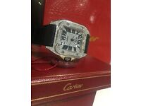 MENS CARTIER SANTOS 100 ICED OUT DIAMOND FULLY ICED WATCH NEW WITH BOX PAPERS TAGS BAG