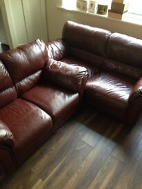 BROWN LEATHER SOFA 2 SEATER + 3 SEATER VERY GOOD CONDITION