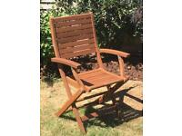 Six New Folding Hardwood Garden Chairs/Seats with Arms