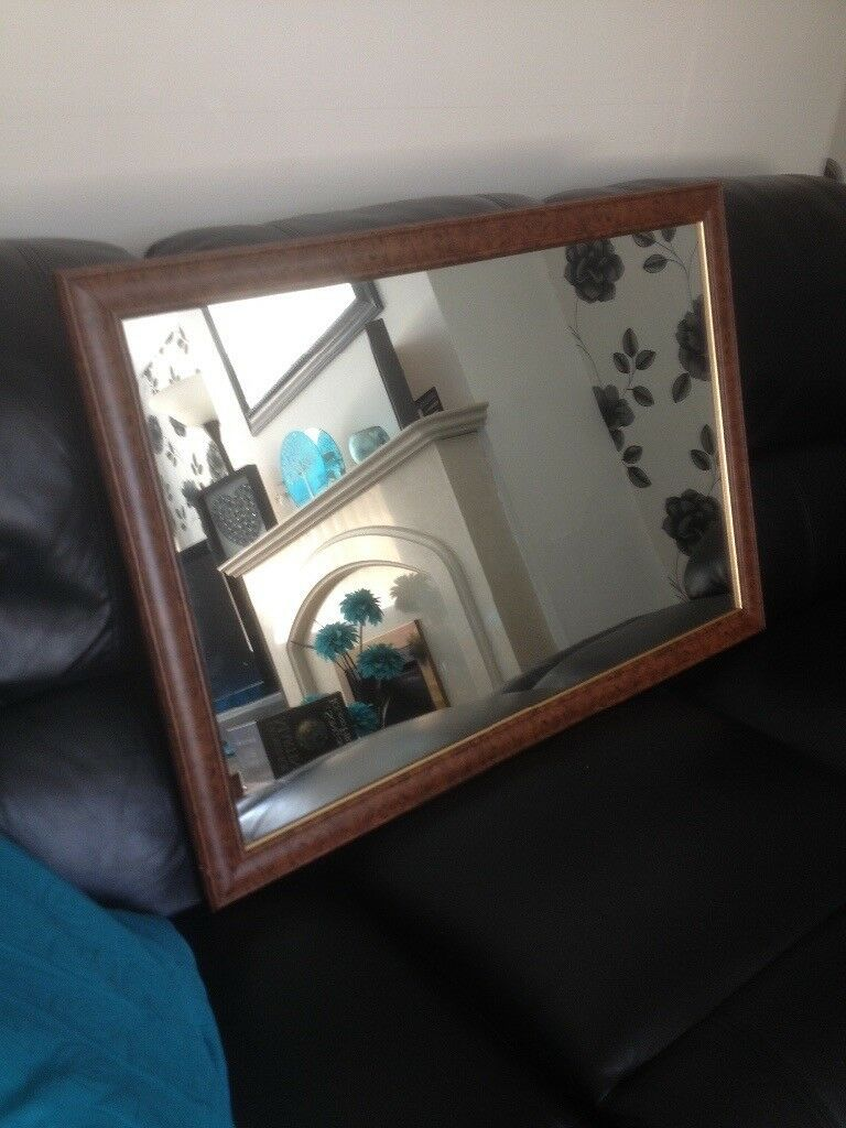 Wood effect framed mirror