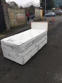 Slumberland heavy single bed with 2 drawers &white and oak headbroad