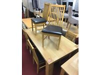 180cm Oak Veneer Table and 6 Strong Wooden/Leather chairs
