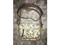 Flower and Butterfly Patterned Cream Coloured Bag