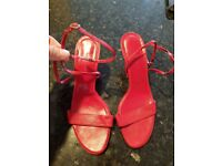 Lk bennett red leather strappy sandals size 40