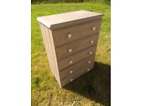 Painted solid pine chest of drawers