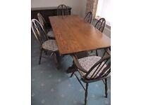 WEBBER Oak Refectory Heavy Truss Table.