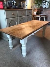 Chunky painted, pine farmhouse table