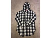 Boohoo black and white checkered long hooded shirt