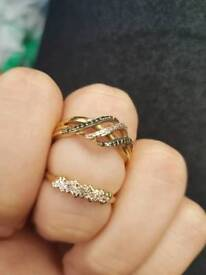 9ct gold real diamond rings