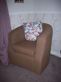 Pair of brown bucket/tub armchairs