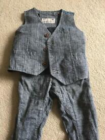 Boys waistcoat suit. Waistcoat 12-18 months and trousers 1.5-2years.
