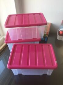 3 Matching storage boxes with pink lids home furniture