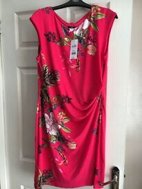 Wallis Dress. Size 16. Pink with floral pattern. Polyester. Brand new with labels.