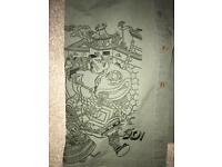 Yo! Japan men's embroidered khaki shirt. Size medium.