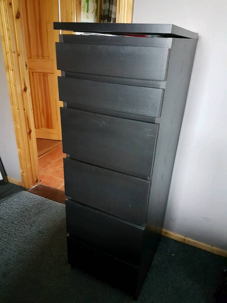 Ikea Chest of 6 Drawers with Fold down Mirror