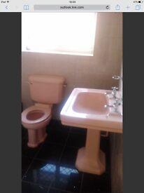 Beautiful Art Deco pink bathroom suite, bath, sink and toilet vintage retro