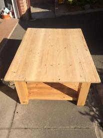 Large pine coffee table / childs play table