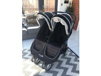 Baby Jogger City Mini Double Buggy Stroller with Newborn Carry Cot and Raincover